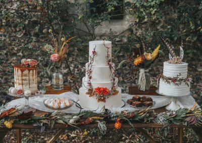 atumn wedding cake styled dessert table sweets