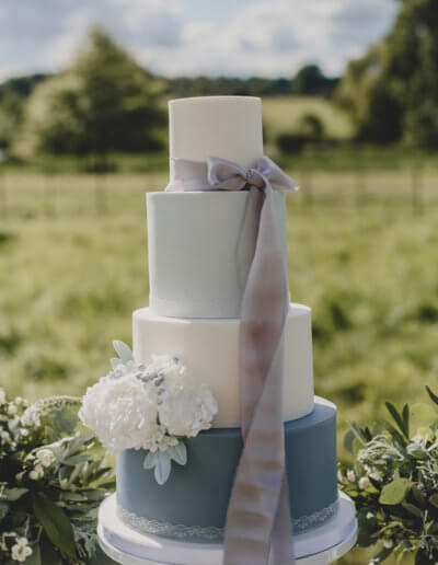 Grey blue wedding cake
