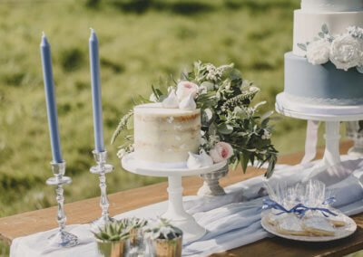 french grey blue wedding cake table display