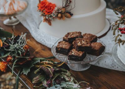 autumnal wedding cake and brownies