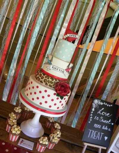 50's rock n roll polka dot tattoo leopard print wedding cake
