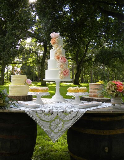 vintage floral cascade wedding dessert cake barrel table