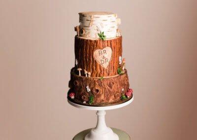 Bark effect wedding cake