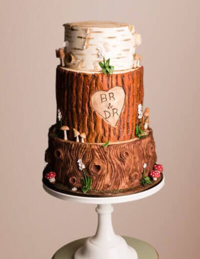 Bark effect wedding cake