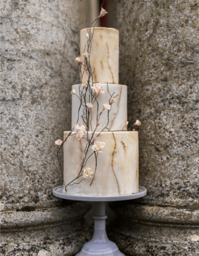 Natural stone marbled wedding cake