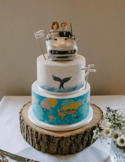 world travel car wedding cake