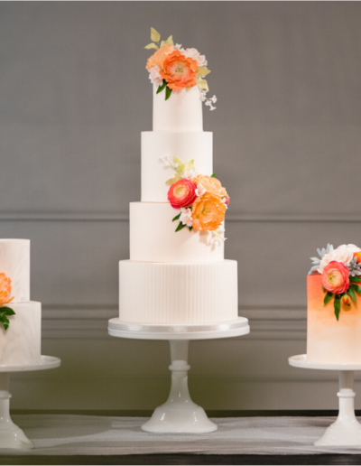 coral flower wedding cake