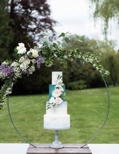 wedding cake floral hoop display